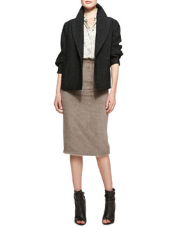 Burberry Prorsum Tailored Short Jacquard Jacket, London Map-Print Collared Button-Up Blouse & Mid-Length Pencil Skirt