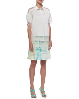 Voile-Panels Oversized Blouse & Silk Wrap Panel Step Skirt