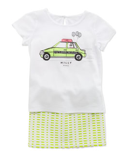 Milly Taxi-Print Tee & Perforated Scuba Skirt, Sizes 2-6
