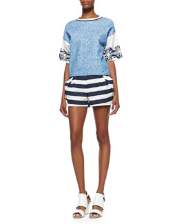 Printed Colorblock Knit Top and Striped Pleat-Pocket Shorts
