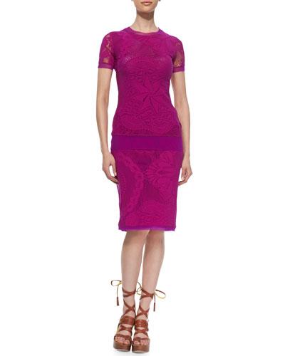 Lace/Crochet Tulle-Trim Tee & Skirt