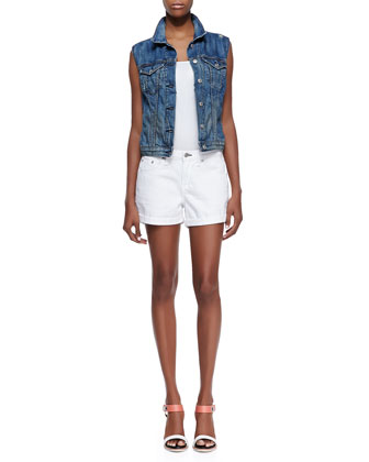Burney Denim Sleeveless Vest & Boyfriend Denim Shorts