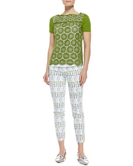 Tory Burch Margaux Crochet-Front Top and Alexa Printed Cropped Skinny Pants