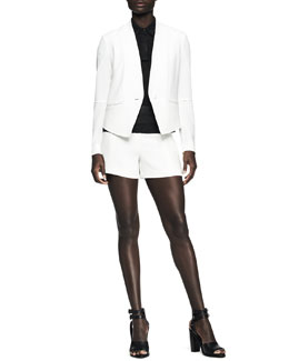 Rag & Bone Pascal Darted Single-Button Blazer, Ellie Semisheer Polo Shirt & Florencia High-Waist Shorts