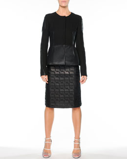 Fendi Crepe/Coated Cotton Peplum Jacket & Graphic Leather A-Line Skirt