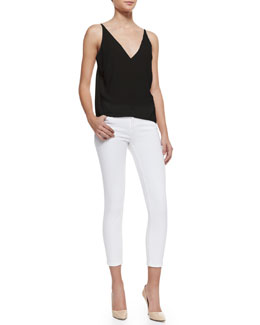 J Brand Jeans Lucy Sheer-Back Top & 835 Mid-Rise Sateen Cropped Jeans