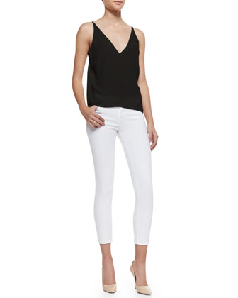 Lucy Sheer-Back Top & 835 Mid-Rise Sateen Cropped Jeans
