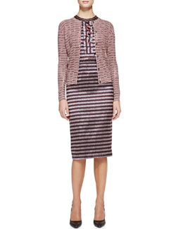 Bottega Veneta Ribbon Yarn Striped Cardigan and Optical Silk Jacquard Sheath Dress