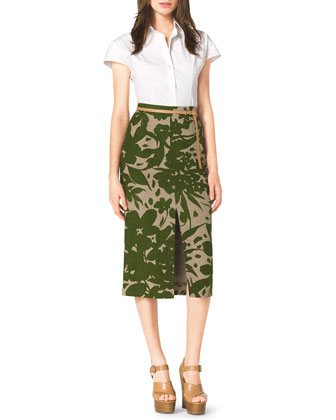 Stretch-Cotton Shirt, Floral-Print Linen Pencil Skirt & Skinny Leather Loop Belt