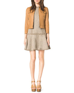 Michael Kors  Leather Jacket & Drop-Skirt Tweed Dress