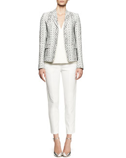 Reed Krakoff Abstract Viper-Print Blazer, V-Neck Leather Combo Top & Cropped Tuxedo-Stripe Pants