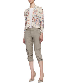 Alice + Olivia Eliette Open Embroidered Jacket, Rolled-Sleeve Pocket Tee & Narrow Tab-Cuff Cargo Pants