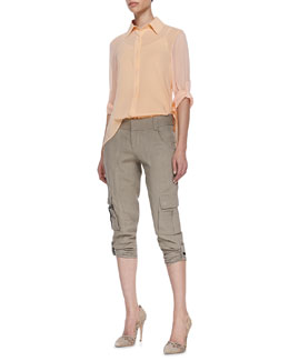 Alice + Olivia Beau High-Low Sheer Blouse & Narrow Tab-Cuff Cargo Pants