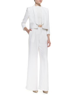 Alice + Olivia Ettie Cropped Boxy Crepe Blazer, Pire Sleeveless Crop Top & High-Waist Pleated Wide-Leg Pants