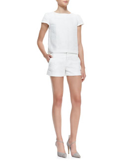 Alice + Olivia Boxy Tweed Cap-Sleeve Top & Cady Tweed No-Cuff Shorts