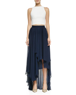 Alice + Olivia Pire Sleeveless Crop Top & Andy High-Low Chiffon Maxi Skirt