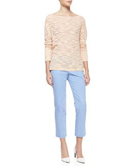 Alice + Olivia Boat-Neck Slub Knit Sweater & Stacey Slim Cropped Pants