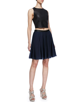 Lorita Leather Crop Top & Polly Leather-Waist Pleated Skirt