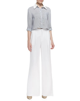 Alice + Olivia Amy Cropped Boxy Blouse & High-Waist Pleated Wide-Leg Pants