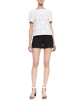 Alice + Olivia Edi Floral-Lace Blouse & Cady Cuffed Shorts