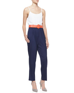 Alice + Olivia Harlan Two-Tone Jumpsuit & Faux-Leather Belt with Round Buckle
