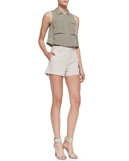 Theory Gemia Cropped Pocket Blouse & Kasim Stretch Seersucker Shorts