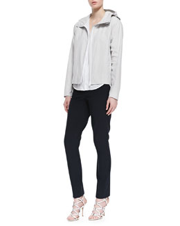 Theory Dripp Ribbed Hooded Coat, Napala Short-Sleeve Blouse & Billy Lightweight Skinny Jeans
