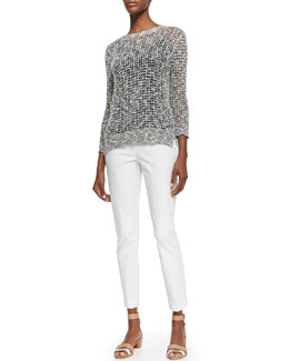 Theory Rainee See-Through Knit Sweater & Belisa Cropped Twill Pants