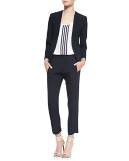 Theory Tadean Open-Front Blazer, Isaac Striped Georgette Tank & Korene Double Georgette Cropped Pants