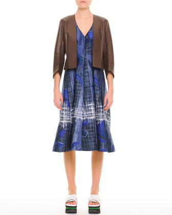 Abstract Floral V-Neck Dress & Minimalist 3/4-Sleeve Leather Jacket