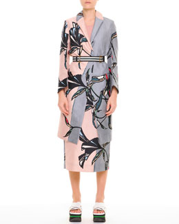 Marni Large-Floral Long Coat, Knit Contrast-Racerback Tank, Large-Floral Midi Skirt & Striped Fabric Belt
