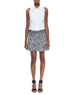 Theory Gemia Luxe Pocket Blouse & Lonati Pescara Printed Skirt