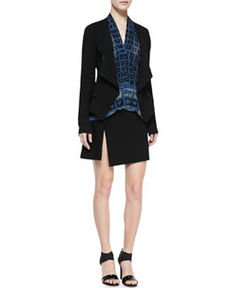 Donna Karan Wrap Jacket, Long-Sleeve Printed High-Low Top & Short Scissor Skirt