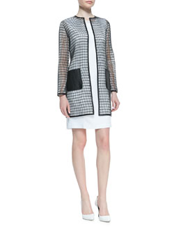 Elie Tahari Soho Rectangular Mesh Coat & Sleeveless Croc Jacquard Gramercy Dress