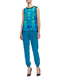 Elie Tahari Pilara Silk Blouse & Emalia Relaxed Pull-On Pants