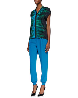 Elie Tahari Dallas Silk Iridescent Print Cap-Sleeve Blouse & Emalia Relaxed Pull-On Pants
