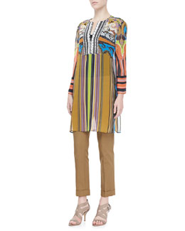 Etro Paisley Striped Caftan & Capri Cigarette Pants