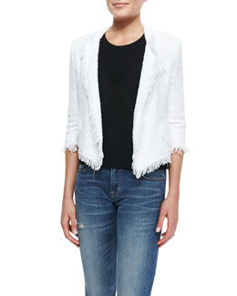 Milly Fringe-Trim Cropped Tweed Blazer & Ribbed Knit Diamond Shell