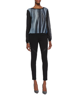 Elie Tahari Kennedy Silk Stripe Long-Sleeve Blouse & Rylee Leather-Inset Skinny Pants