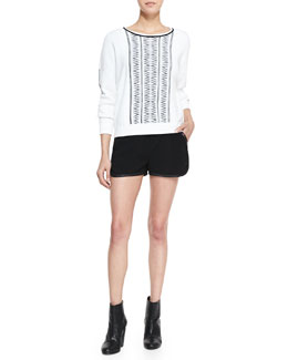 Rag & Bone Erin Lambskin-Trim Printed-Knit Sweater & Platini Leather-Trim Shorts