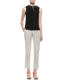 Rag & Bone Easy Becker Sleeveless Leather Trim Top & Stanley Cropped Printed Pants with Leather-Trimmed Pockets