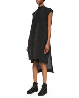 Rick Owens Long Beach Cap-Sleeve Mantle Jacket and Cap-Sleeve Draped Romper