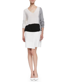 Basic Colorblock V-Neck Sweater and Liz Leather Asymmetric Skirt