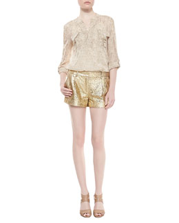 Diane von Furstenberg Danielle Long-Sleeve Flap Pocket Top & Naples Laser Cut Leather Shorts