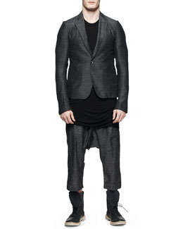 Rick Owens Soft Island Blazer, Basic Sleeveless T-Shirt & Drawstring Cropped Drop-Inseam Pants