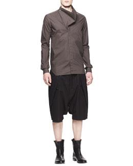 Rick Owens Long-Sleeve Mega Cowl Shirt & Drawstring Cargo Pod Shorts