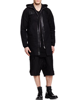 Rick Owens Long Leather-Trim Hooded Parka, Basic V-Neck T-Shirt & Drawstring Swinger Shorts