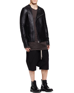 Rick Owens Asymmetric-Zip Leather Jacket, Basic Long-Sleeve Tee & Drawstring Cargo Pod Shorts