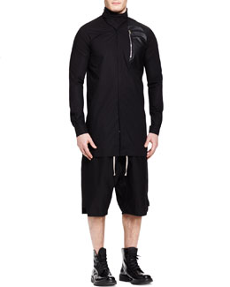 Rick Owens New Island Cowl-Collar Shirt and Poplin Drawstring Swinger Shorts