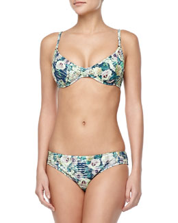 Nanette Lepore Hula Hibiscus-Print Zip Rashguard, Underwire Top & Swim Bottom